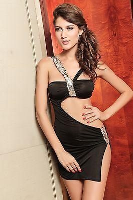 Dearlover Gogo Mini party dress Sequins Black Slit Design V-shaped Neckline