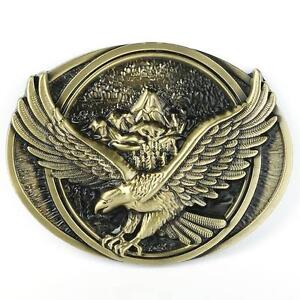 Vintage-Style-Bronze-Flying-Soaring-Eagle-Over-Mountains-Belt-Buckle-Collectible