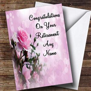 pale pretty pink rose personalised retirement greetings card ebay