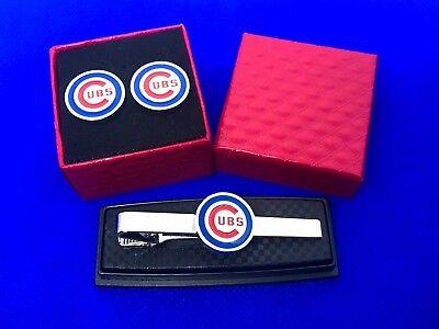 Fanartikel Sport Chicago Cubs Krawattenklammer & Manschettenknöpfe Set Baseball Geschenk Hochzeit