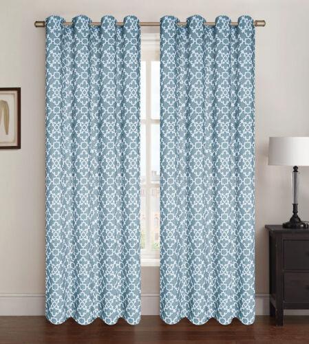 "2 Pack Alex Living Room Window Curtain Panels Lattice Geometric Burgundy 38/""x84/"""