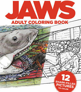 JAWS -ADULT COLORING BOOK SHARK GREAT WHITE HORROR MOVIE CHIEF BRODY AMITY MOVIE