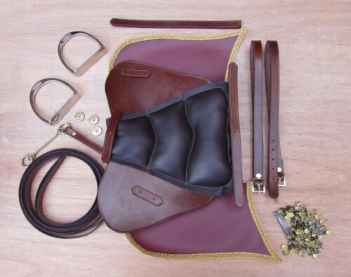 Conker LEATHER SADDLE etc for a wooden rocking horse BRIDLE REINS STIRRUPS
