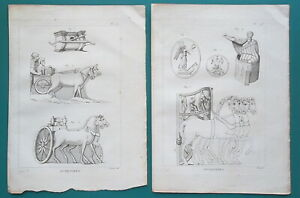 ROMAN-ARMY-Battle-Chariots-amp-Military-Engines-2-Two-1804-Copperplate-Prints