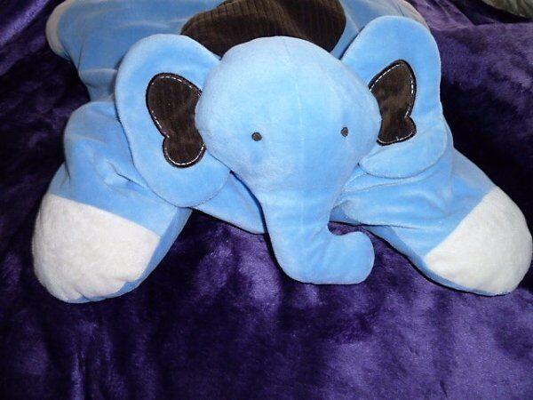 POTTERY BARN KIDS Blau ELEPHANT braun CORDUROY FLOOR FLOOR FLOOR TUMMY PILLOW PET COZY 6084db
