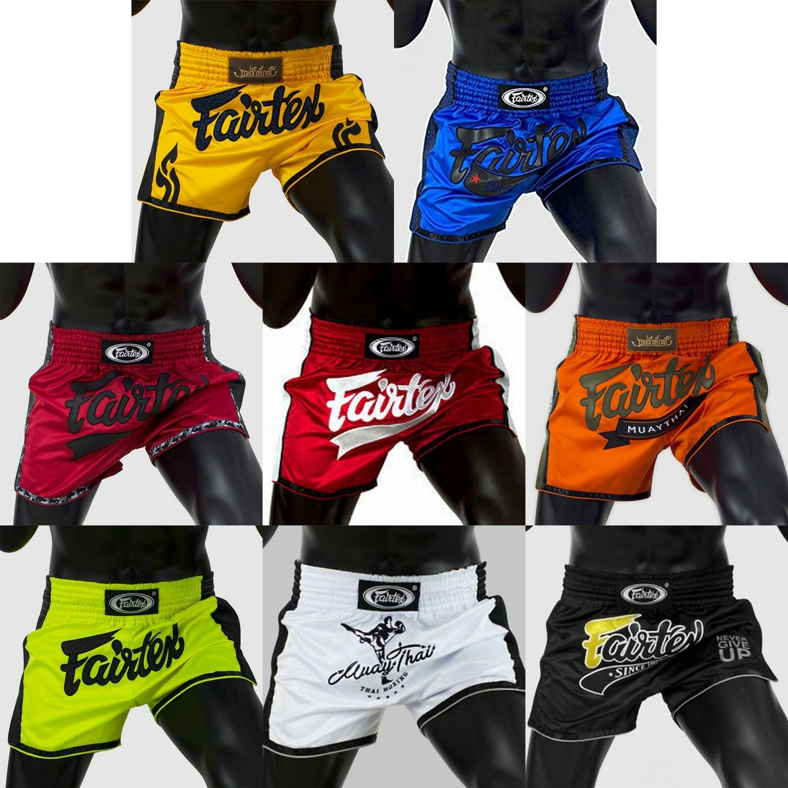FAIRTEX BS170X Series SHORTS SLIM CUT Martial Arts Sport COLORS MUAY THAI BOXING