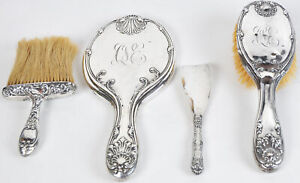 Whiting-Sterling-Silver-Brush-Mirror-Crumb-Whisk-Broom-Vanity-Set-Mauser-Chased