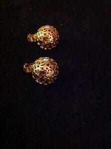 Vintage-Napier-Pat-Pend-Gold-Tone-Filigree-Ball-Clip-Earrings