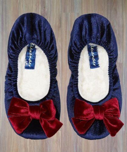 PETER ALEXANDER PJS Womens Velvet Bow Couture Slippers Size 7//9//10 BNWT PJ Blue