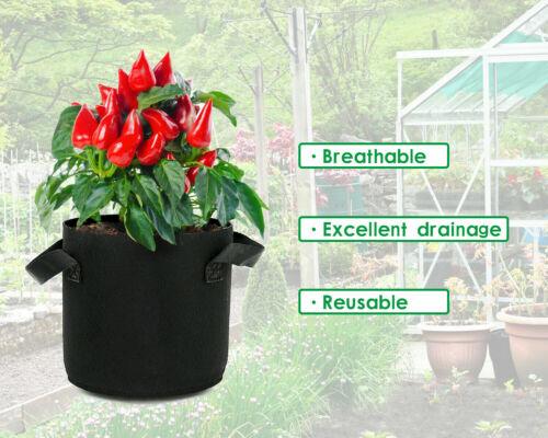 NEW Hydroponics Fabric Root Pots For Smart Plant Grow Pot Bags 1//3//5//7//10 Gallon