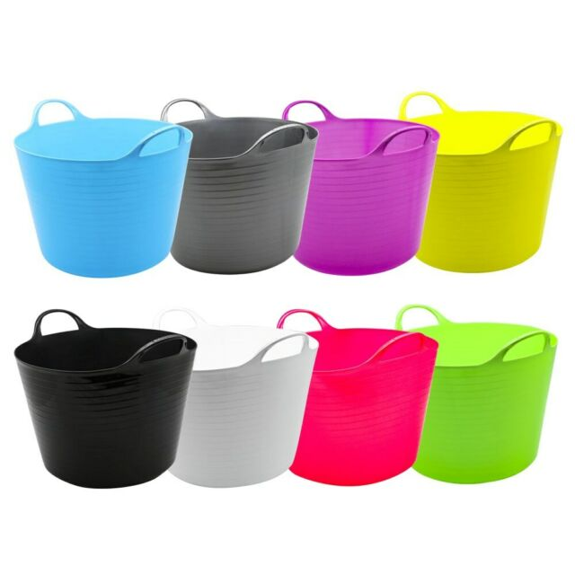 16L Flexible Tub Garden Colors Toy Storage Container Bucket Basket Bin Handle