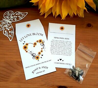 Personalised Sunflower Seeds Wedding Favours Seed Packets
