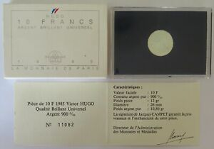 0468 - Coffret Bu - 10 F 1985 - Victor Hugo - Argent 900‰