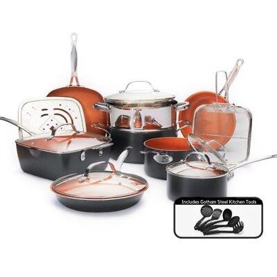 Gotham Steel Complete Kitchen Nonstick 20 Piece Copper Cookware Set - Reg $199!
