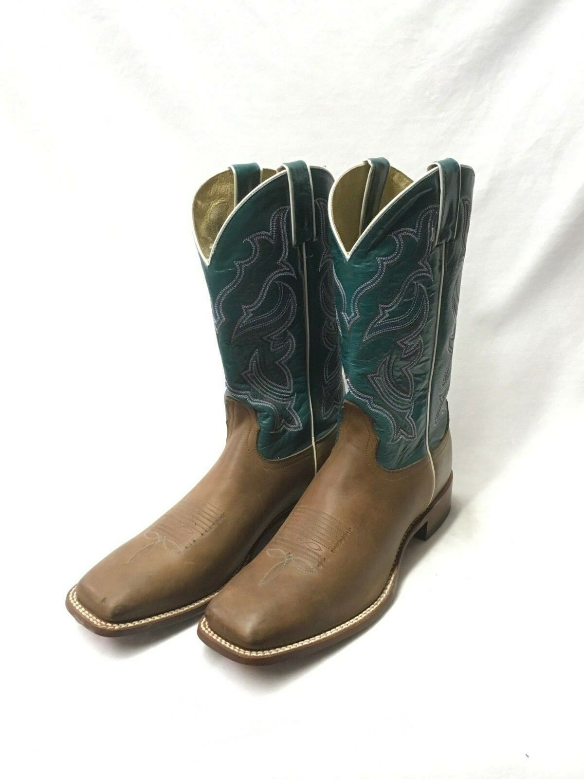 Ladies Nocona Boots-Brown Square Toe w/Turquoise Crunch Top, Style NL4022