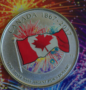 2017-CANADA-150-Glow-in-the-dark-Flag-amp-fireworks-99-99-silver-Proudly-canadian