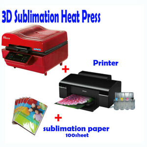 Details about 3D VACUUM DYE SUBLIMATION ink HEAT PRESS + Printer (with ink)  + Paper