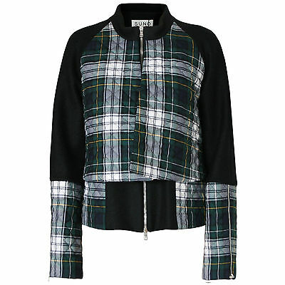 SUNO $1,095 double layered quilted green plaid coat AW13 wool bell jacket 10 NEW
