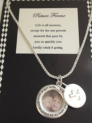 """LIFE IS..."" Inspirational Statement ROUND PICTURE FRAME Charm Necklace"