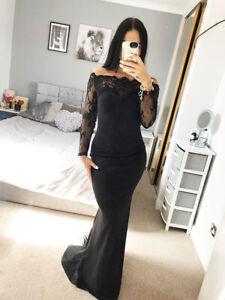 Vestido-de-Encaje-Sexy-Negro-Bardot-impresionante-Fishtail-Vestido-Largo-para-Noche-Baile-de