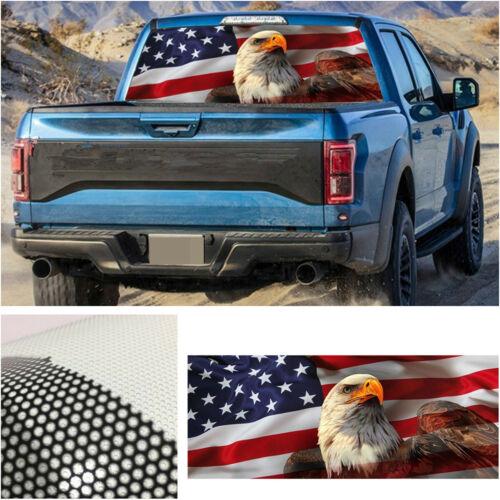 Car Rear Window Graphic Decal Sticker Truck SUV Van American Flag Eagle Label