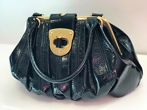 Image Is Loading Genuine Alexander Mcqueen Black Amp Gold Elvie Bag