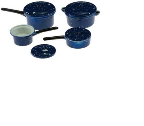 Dollhouse Miniatures 1:12 Scale Blue Enamelware Cookware 7//Pk #IM65100