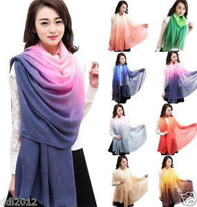 New-Fashion-Women-Lady-Gradient-Color-Long-Wrap-Shawl-Scarf-Scarves-Stole