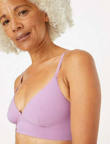 MARKS /& SPENCER M/&S BODY SMOOTHING LONGLINE PALE MAUVE NON-WIRED PLUNGE BRA 36 #