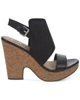 Naya Misty Platform Black Leather Sandals Sz 8