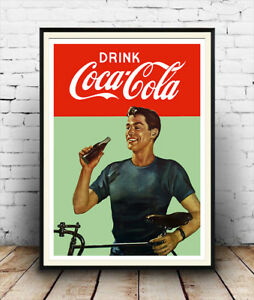 Drink-coca-cola-Reproduction-vintage-advert-poster-Wall-art