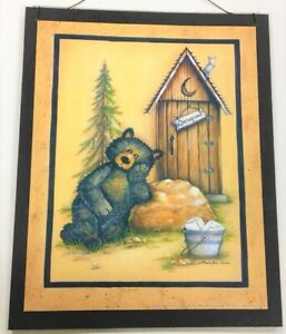 Black Bear Occupied Outhouse Wood Sign