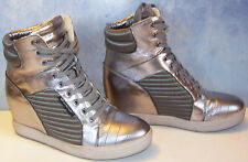 UNITED NUDE silver PLAY FASHION fleece lined high top wedge SNEAKERS 41 10.5-11