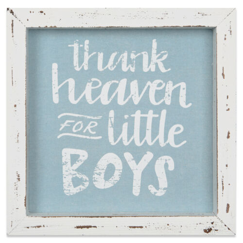 "Brownlow-/"" Thank Heaven For Little Boys/"" Framed Nursery Wall Decor 8/""x8/"" NEW"