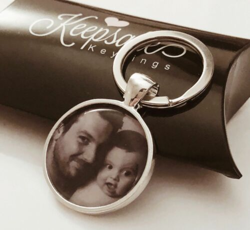 Personalised Custom Photo Keyring Chain Father's Day Birthday Present Gift Box