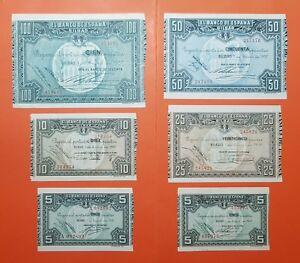 SUPER-LUJO-BILBAO-5A-5-10-25-50-100-PESETAS-1937-EUSKADI-GUERRA-CIVIL-1936
