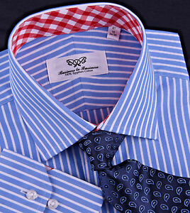 Men-039-s-Blue-Striped-Formal-Business-Dress-Shirt-Contrast-Red-Gingham-Check-Plaid