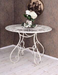 Table en Fer Blanc de Cuisine Métal Jardin Terrasse Rond | eBay