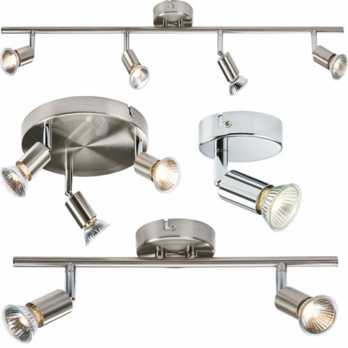 Spotlight réglable plafond spot lumière finition chrome 1//2//3//4 Voie pour DEL GU10