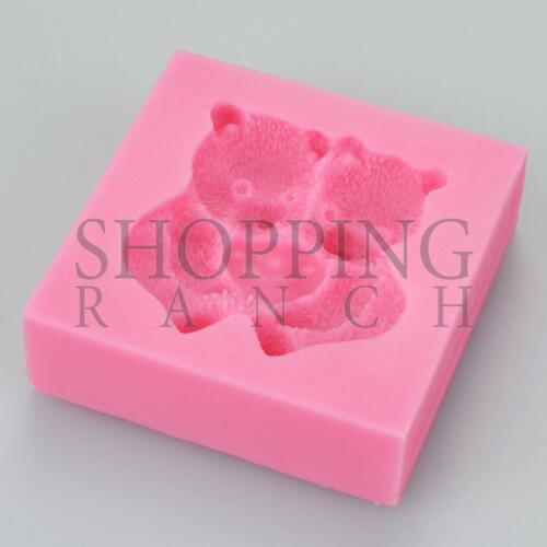 Cute Bear Love Heart Care Silicone Mould Cupcake Mold Topper