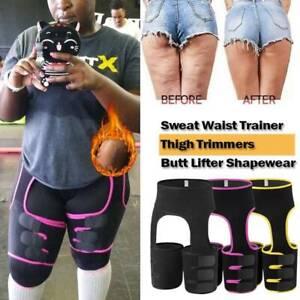 Slim Thigh High Waist Trimmer Exercise Wrap Belt Sauna Sweat 3 In 1 Body Shaper