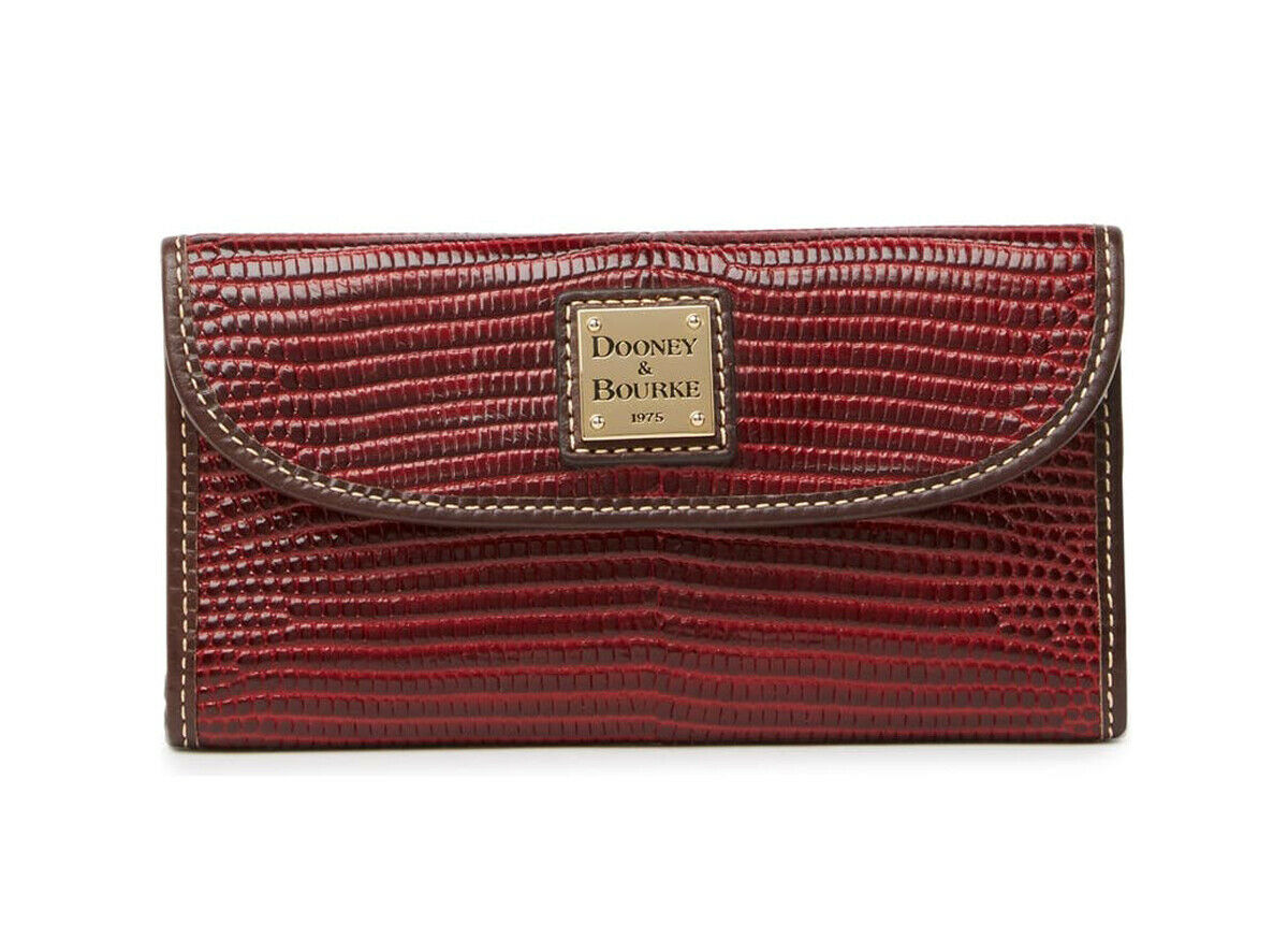 New Dooney and Bourke Lizard Embossed Leather Continental Clutch Wallet Wine NWT