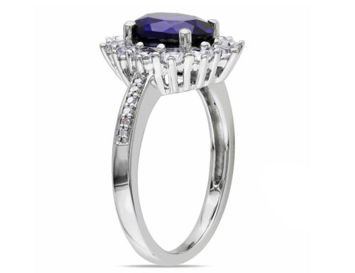 ctw in S Details about  /Created Blue and White Sapphire Ring with Diamonds 4.0 Carat