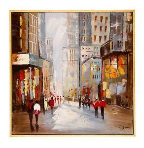 Original-Olgemaelde-New-York-mit-Rahmen-Personen-Gemaelde-Leinwand-Bild-104cm