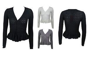 New-Imported-Women-Ladies-Long-Sleeve-Knitted-Peplum-Frill-Blazer-Cardigan-Shrug