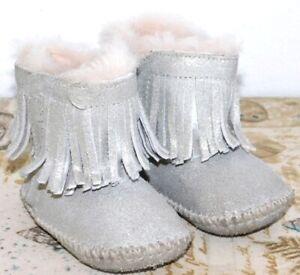 4a820b7804b Details about NEW GIRLS INFANT SIZE 2/3 UGG BRANYON FRINGE SILVER METALLIC  SHEEPSKIN BOOTS