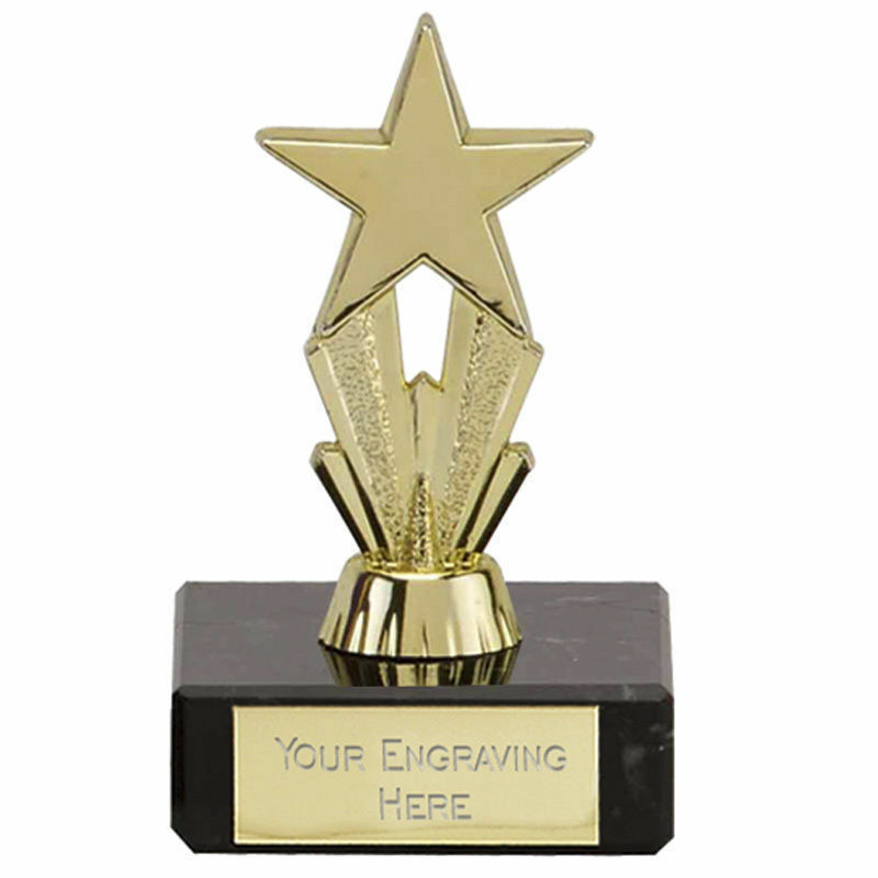 20 x gold Mini, Micro Star Trophy,Award,Dance, Multisport, 80mm,Free Engraving