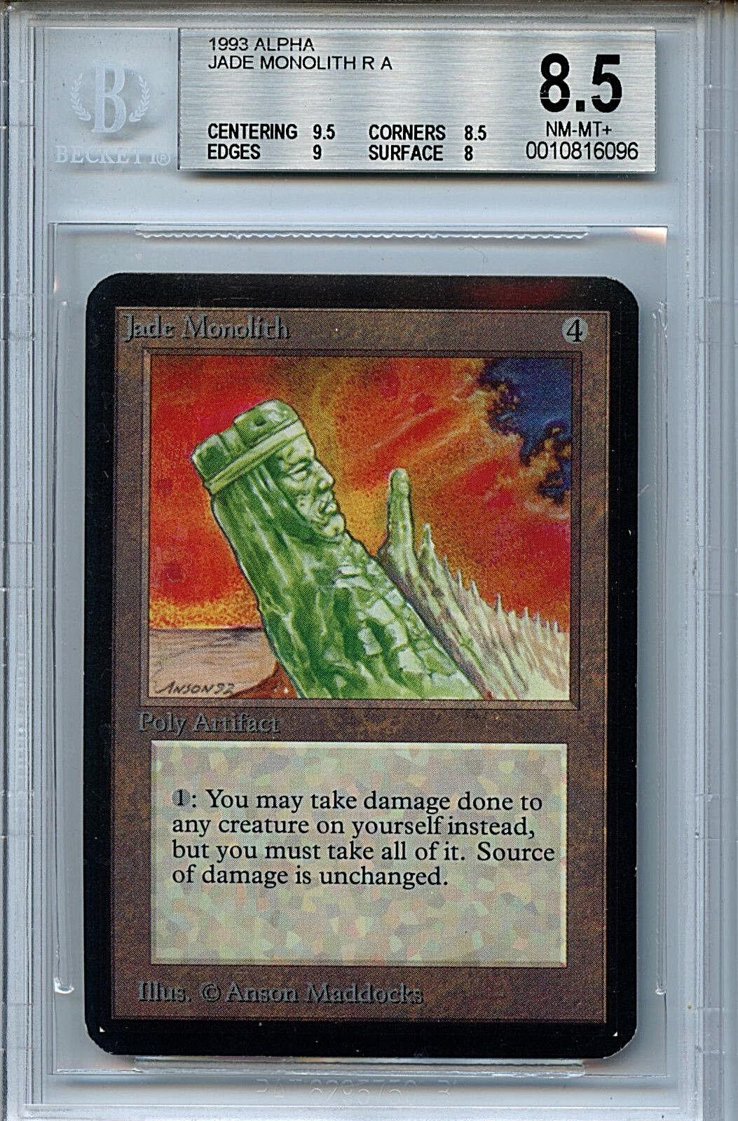 MTG Alpha Jade Monolith Monolith Monolith BGS 8.5 NM-MT+ Card Magic Amricons 6096 264208