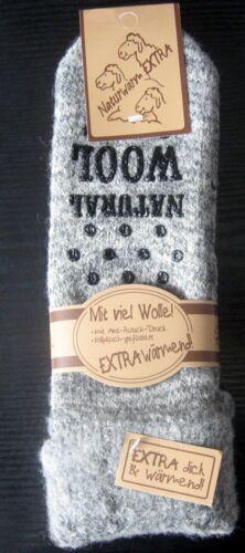 1 Paar warme ABS Damen Thermo Woll Socken mit Umschlag 70/% Wolle grau 35 bis 42