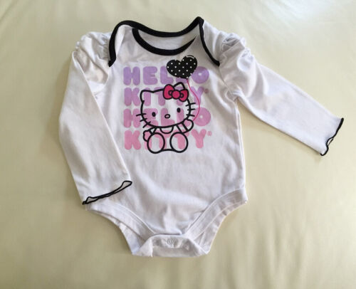 Licensed Hello Kitty Long Sleeve Baby Girl Bodysuit Romper size 0-3-6-9-12 mos